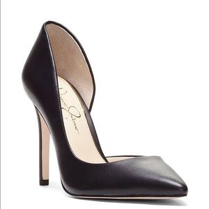 Jessica Simpson Black Leather d'Orsay Pumps